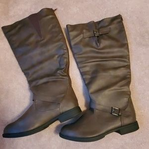 *New* Twisted brown knee boots wide calf size 12W